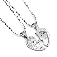 1pair Fashion Best Couple Chain Necklaces Pendant Lover Valentine's Gift C 50.0 cm