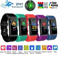 Upgraded Version ID115 Plus Colorful Smart Bracelet Fitness Tracker Heart Rate Bluetooth Smart Watch Black one size