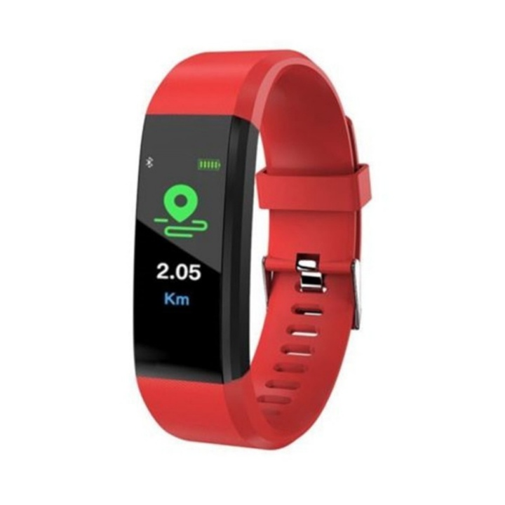 Upgraded Version ID115 Plus Colorful Smart Bracelet Fitness Tracker Heart Rate Bluetooth Smart Watch Red one size