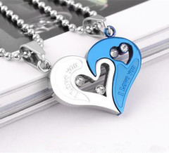 Stainless Steel Men's Fashion Accessories Lover Couple Necklace I Love You Heart-shaped Necklace 6 one size