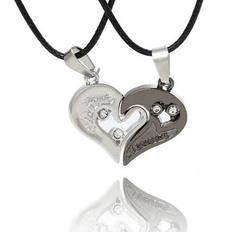 Stainless Steel Men's Fashion Accessories Lover Couple Necklace I Love You Heart-shaped Necklace 7 one size