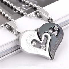 Stainless Steel Men's Fashion Accessories Lover Couple Necklace I Love You Heart-shaped Necklace 8 one size