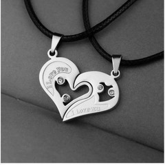 Stainless Steel Men's Fashion Accessories Lover Couple Necklace I Love You Heart-shaped Necklace 9 one size