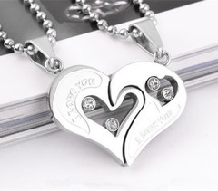 Stainless Steel Men's Fashion Accessories Lover Couple Necklace I Love You Heart-shaped Necklace 10 one size