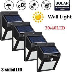 3 Faces 40LED/60COB Solar Powered Wall Lamp PIR Motion Sensor Waterproof Bulb Outdoor Night Light White light 96*124*48mm 0.65w(30LED)
