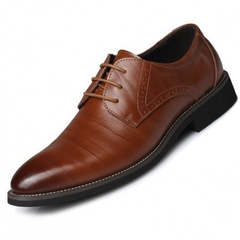 Phoenix Business Men Flat Classic Pure Leather Wingtip Carved Italian Formal Oxford Wedding Shoes Yellow 39