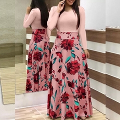 Phoenix S-XXL Summer Mother's day Women's Flowers, Prints, Coloured Dress, Long Skirts s Long sleeve(Pink)