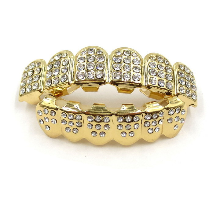 Hip Hop Golden Braces Men's Fashion Accessories Teeth Grillz Caps Top Bottom Grill Set Flat Teeth Gold(B) 10cm*10cm *3cm