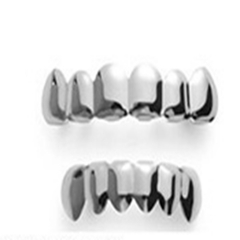 Hip Hop Golden Braces Men's Fashion Accessories Teeth Grillz Caps Top Bottom Grill Set Flat Teeth Silver(A) 10cm*10cm *3cm
