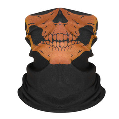 Skull Bandana Bike Motorcycle Helmet Neck Face Mask Paintball Ski Sport Headband Yellow Adjustable