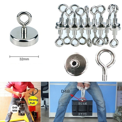 Strong Magnet 32mm Round Neodymium Magnets with Countersunk Hole and Eyebolt Silver 32MM