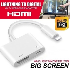 Lightning to Digital AV TV HDMI Cable Adapter with Lightning Charging Port for iPad iPhone White one size