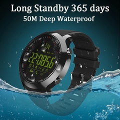 EX18 Smart Watch IP68 Waterproof 5ATM Pedometer Message Reminder Long Standby Time Black one size