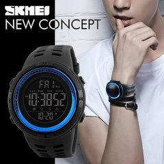 SKMEI Mens Digital Smart Watch Waterproof Pedometer Photography Sport Reminder Black One size