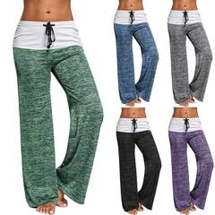 Phoenix Women's Color Block Wide Leg Palazzo Yoga Pants Middle Waist Loose Long Pants Plus Size Red s