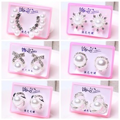 1pc High-grade Earrings Pearl Diamond Earrings Boutique Boxed Hypoallergenic Silver-plated Earrings Random color one size
