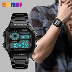 SKMEI Men's Accessories Watch Count Down Waterproof Stainless Steel Digital Wristwatch Male Clock Gold one size
