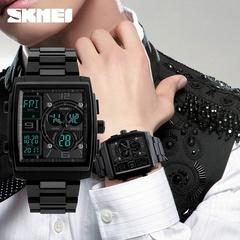 SKMEI Men's Fashion Wrist Stopwatch 3 Time Zone Business Dual Display Calendar Alarm 50m Waterproof Black one size