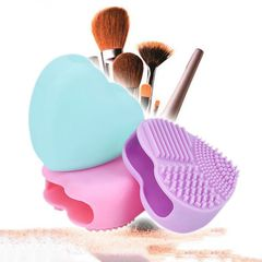 Cute Design Heart Shape Clean Make up Brushes Wash Brush Silica Glove Scrubber Board Cosmetic Pink