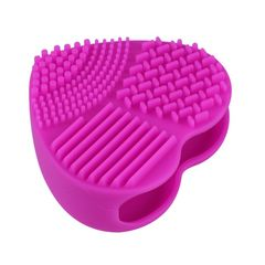 Cute Design Heart Shape Clean Make up Brushes Wash Brush Silica Glove Scrubber Board Cosmetic Rose red