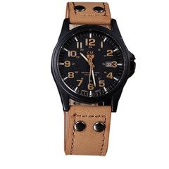 Vintage Classic Men's Waterproof Date Leather Strap Sport Quartz Army Watch Khaki one size