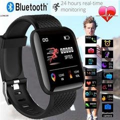 ID116Plus Smart Wristband Fitness Heart Rate Monitor Activity Tracker Smart Band Sport Watch Blue one size