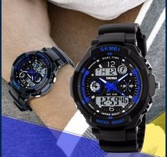 SHOCK SKMEI Luxury Brand Men Military Sports Watches Digital LED Quartz Wristwatches Rubber Strap Blue one size