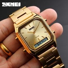 SKMEI Men Digital Quartz Watches Stainless Steel Strap 2 Time Zone Chronograph Waterproof Watch 1 one size