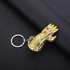 Iron Man Palm Keychain Avengers Alliance Fighter Gloves Metal Keyring Bags Hanging Accessories Iron Man(Blue) one size