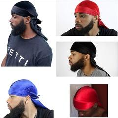 Luxury Velvet Premium Durag Head Wrap 360 Waves Extra Long Straps for Men Black Adjustable