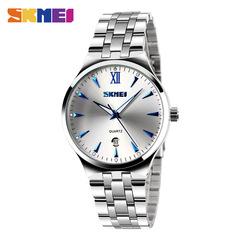 SKMEI Men Women Watch Stainless Steel Quartz Calendar Sport Quartz Watch Couple Watches Women Blue(boy) one size