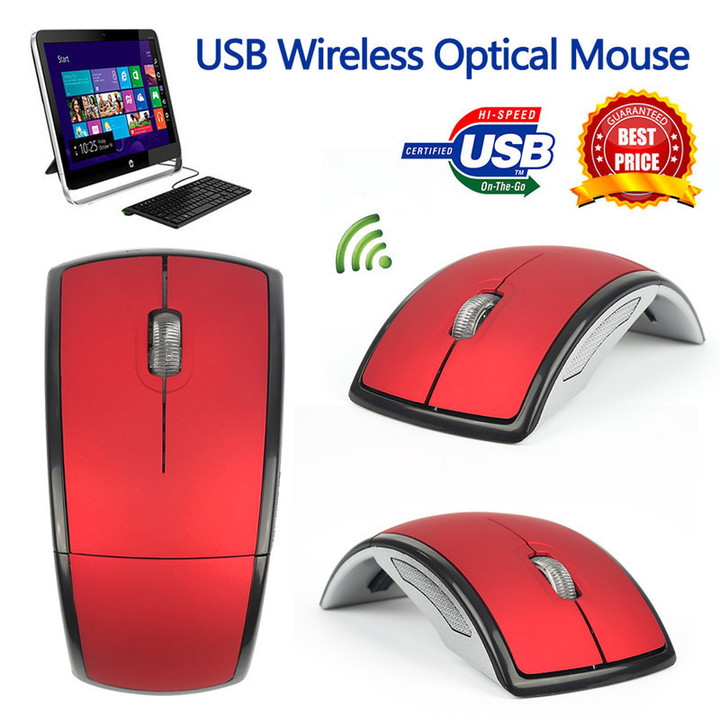 Hot Sale!Wireless Arc Optical Mouse Mice with USB Receiver for PC Laptop Notebook Computer