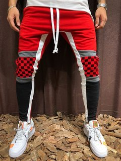 Men's Casual Sports Jogging Pants Plaid Color Matching Hip Hop Fitness Foot Stitching Trousers Red m