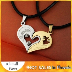Stainless Steel Men's Fashion Accessories Lover Couple Necklace I Love You Heart-shaped Necklace 1 one size