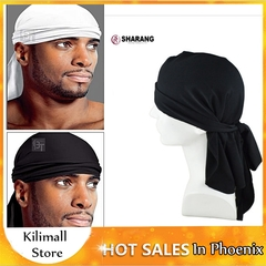 Bloem Men's Fashion Scarf Men Long-tailed Caps Spandex King'S Durag Black Adjustable