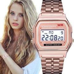 F91w Sports Children's Electronic Metal Watch Multi-function Luminous Alarm Clock Steel Watch Gold One size