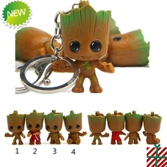 4pcs I am Groot Flowerpot Tree Doll Material Carabiner Car Keychain Toy Model Key Chain Bag Pendant As picture shows 4pcs