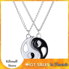 Fashion Best Friends Couple Chain Necklace Pendant Lover Gift Valentine's Day As picture shows 2.7CM*1.5CM