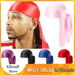 Women Men Unisex Silky Durag Rag Long Tail Headwrap Bandana Caps Men Women Headband Black Adjustable