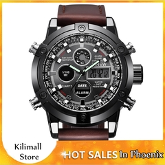 Chronograph Business Watch Mens Leather Digital Watches Wristwatches Men's Fashion Accessories Brown one size