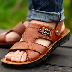 Genuine Split Leather Men Beach Sandals Men Casual Shoes Flip Flops Men Slippers Sneakers Yellow 38