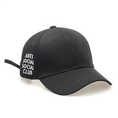 Men's Fashion Anti Social Club Letters Solid Color Curved Along Couple Caps Hats Black Adjustable