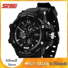 SKMEI Multifunction Chronograph Analog Men Digital LED Waterproof Military Alarm Chrono Wristwatches Black one size