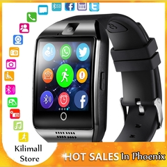 Bluetooth Smart Watch Men Q18 With Touch Screen Big Battery Support TF Sim Card Camera for Android black one size