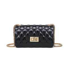 Summer Chain Mini Fragrance Bright Noodles Women's Bags Pearlescent of The Shoulder Bag Black one size
