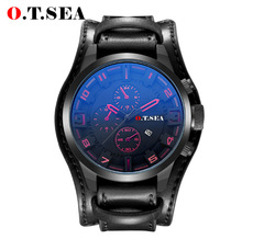 Men's Sport Brand Quartz Watch Men Wrist Watch Luxury Quartz-Watch Leather Strap Military Male Clock Black one size