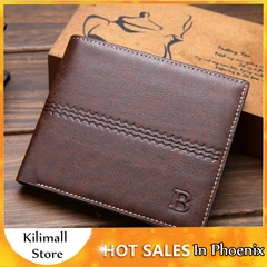 Men's Bags Short Paragraph Wallet Business Casual Leather PU Wallet Men Fashion Bag Brown one size