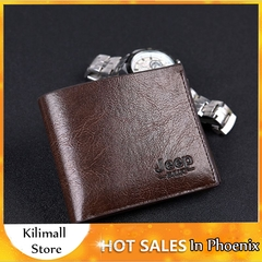 Men's Wallet Pu Leather Classic Short Multi-card Purse Credit Business Card Holders Black one size