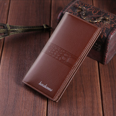Leather Multifunction Men Wallets Long Retro Ultra-thin Frosted Soft  Zipper Pocket Trifold Wallet Coffee one size