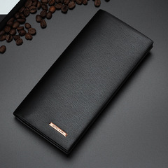 HS Brand Long Eetro Ultra-thin Frosted Wallet Leather Multifunction Men Wallets Wallet Zipper Black(A) one size